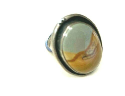 GENUINE PICTURE JASPER STERLING SILVER RING LARGE STONE GORGEOUS