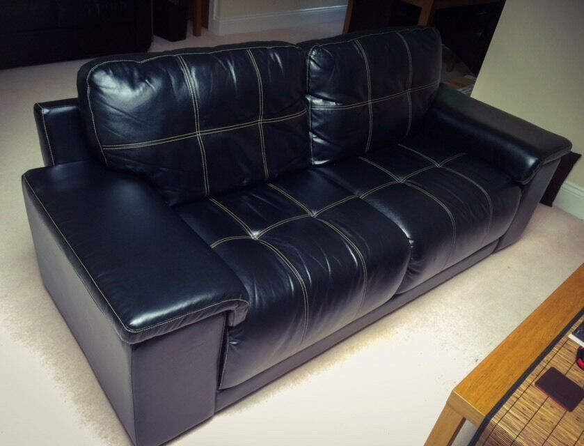 3 Seater Faux Leather Sofain Church Crookham, HampshireGumtree - Faux leather 3 seater Sofa. Fixed cushions. Used but good condition. Length 215cmHeight 87cmDepth 90cmCollection only from Fleet, Hampshire. Cash on collection