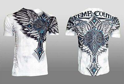 Xtreme Couture Affliction Men T Shirt Last Blow Tattoo White Fight Biker Ufc  40