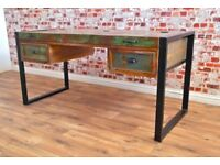 Industrial Office Desk made from Reclaimed Rustic Boat Wood Laptop Storage