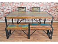 Rustic Industrial Reclaimed Timber Dining Sets - Table Benches Chairs