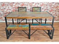 Rustic Industrial Reclaimed Wood Dining Sets - Table Chairs Benches