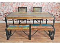 Rustic Industrial Reclaimed Timber Dining Sets - Table Chairs Benches