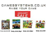 January Sale! Save up to 50% on Xbox One PS4 Switch Wii U Xbox 360 PS3 Wii 3DS 2DS PS Vita PC items!