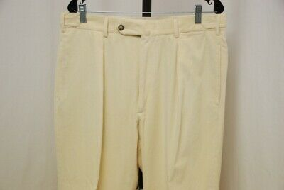 INCOTEX men's pleated pants corduroy soft yellow cotton cashmere 36 x 32