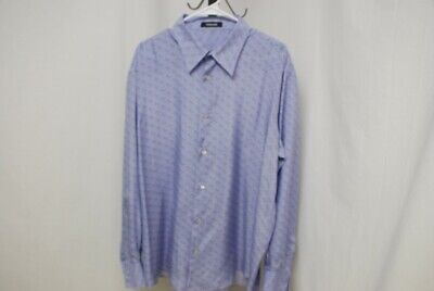 VERSACE men's long sleeve silk shirt violet blue w/palm trees sz 60 XXXL 3XL