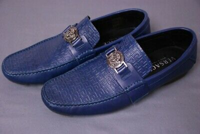 $725 VERSACE men's Medusa blue loafers shoes size 41 1/2 / US  8 1/2 8.5 M