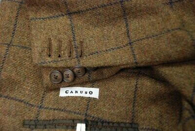 CARUSO men's wool sport jacket double breasted mid brown navy plaid EU 50 US 40R