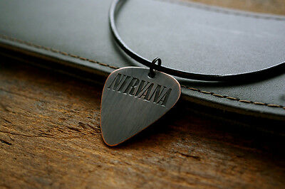 Hand Made Etched Copper Nirvana Guitar Pick Necklace