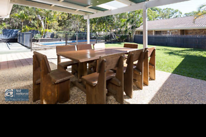 Recycled railway table and chairs Victoria Point Redland Area Preview