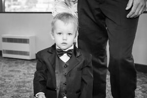Baby boy tuxedo / suit - size 1 toddler - suspenders, Fedora