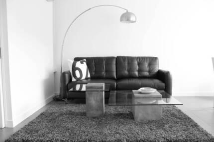 Black 3 Seater Leather Sofa Brunswick Moreland Area Preview