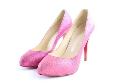 Christian Louboutin Pink Fuschia Fifi Glitter Pumps 13clr0509