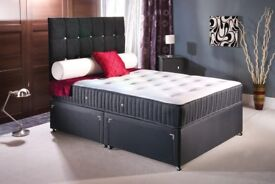 BRAND NEW DOUBLE OR KING DIVAN BED FRAME WITH PLAIN HEADBOARD AND STORAGE DRDAWERS