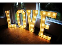 4ft LED LOVE letters for weddings and events. To hire £225
