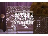 ** RAMADAN OFFER ** 25% OFF & £100 to charity for hire of wedding and mehndi stages and venue decor