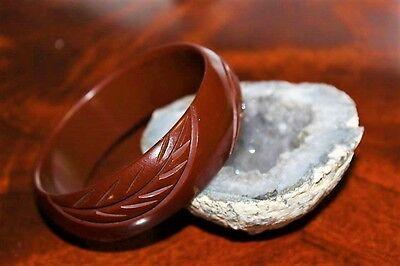 ANTIQUE ART DECO CARVED BAKELITE BROWN CHOCOLATE LOVELY ADORABLE BRACELET BRB4