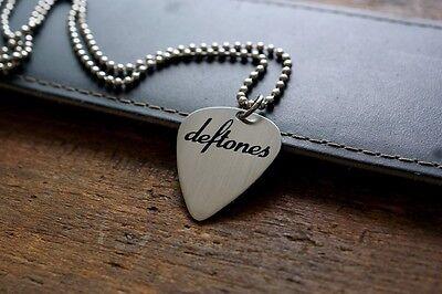 Hand Made Etched Nickel Silver Guitar Pick Necklace - Deftones