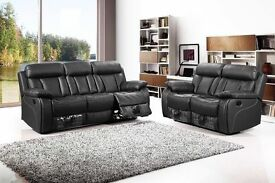 Jordan 3 and 2 seat bonded leather recliner sofa set with pull down drink holder