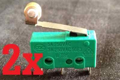 2x Micro Switch Spdt Hinge Roller Lever 15a Kw4-3z 5a 3a 12v B1