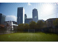 £6 2 hours of football just turn up and play Sundays 3-5pm Canary Whalf