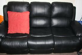 x2 leather faux recliner sofas
