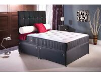 "NEW! KING SIZE BLACK DIVAN BASE WITH 9"" DUAL-SIDED MEDIUM FIRM MATTRESS- SAME DAY FREE DELIVERY"