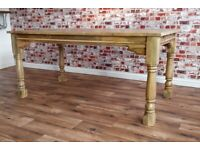 Extendable Rustic Farmhouse Kitchen Oak Style Dining Table - Seats Up To 12 Hardwood