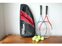 Two tennis rackets and bag and balls