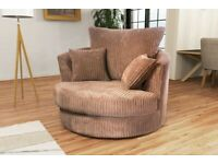 😍BRAND NEW COFFEE DYLAN JUMBO CORD SWIVEL CHAIR - 2 MAN FAST DELIVERY😍