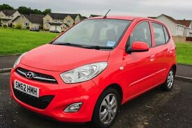 Hyundai i10, 1.2 active 2012 model in red, 33,000 miles, well cared for, great condition