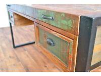 Rustic Reclaimed Office Desk Industrial Boatwood Laptop Storage