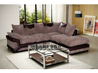 3 AND 2 SEATER SOFA AND CORNER FABRIC SOFA WITH LEATHER DESIGN IN GREY AND BLACK OR BROWN AND BEIGE
