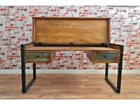 Home Office Rustic Boat Wood Reclaimed Industrial Office Desk with Laptop Storage