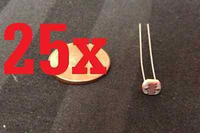 25x Photo Light Sensitive Resistor Photoresistor Photocell Cell 5mm Gl5528 Diy