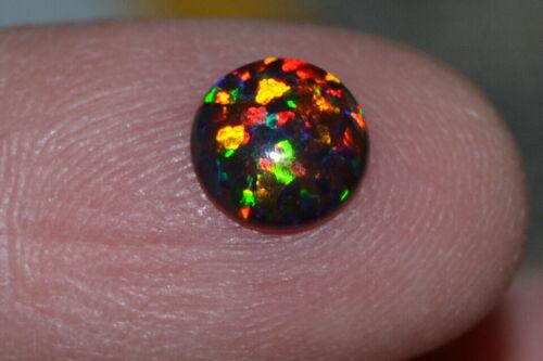 Gorgeous High End 7mm Natural Round Black Opal Cab