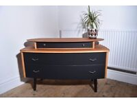 Mid-century/Vintage/Retro Teak and Black Chest of Drawers/Sideboard