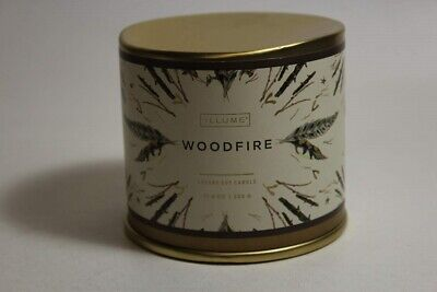 STORE DEMO Illume Holiday Large Tin Luxury Soy Candle Woodfire Free S/H