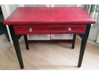 Shabby Chic Upcycled desk/cabinet - Annie Sloan - Red (Emperors Silk) with graphite stencil
