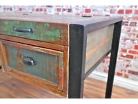 Boat Wood Reclaimed Industrial Office Desk with Laptop Storage Home Office Rustic