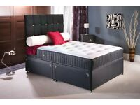 SAME DAY DELIVERY - BRAND NEW DOUBLE/KING DIVAN BASE WITH WHITE ORTHOPEDIC MATTRESS