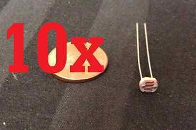 10x Photo Light Sensitive Resistor Photoresistor Photocell Cell 5mm Gl5528 Diy