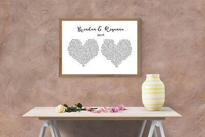 Printable Wedding vows / song lyrics Valentines day / anniversary / wedding gift