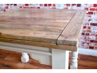 Dining Kitchen Table Painted Extending Rustic Reclaimed Farmhouse Extendable -3 ft - 6 ft