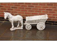 Stone Horse & Hay Cart
