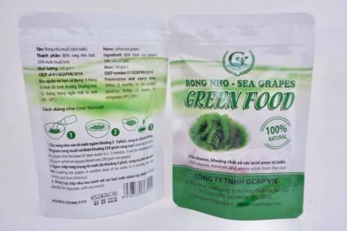 Sea grape seaweed / Rong Nho by Green Food  product of Vietnam 100gr/ bag
