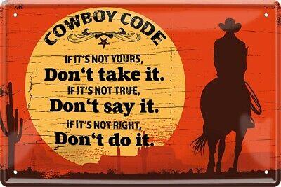 Cowboy Code Western Wild West Pferd Saloon Deko Blechschild Poster Plakat A0238 online kaufen