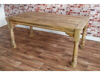 Natural Wood Extending Farmhouse Dining Kitchen Table Painted F&B- Folding, Ergonomic, Space Saving