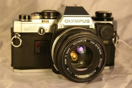 c1980s Olympus OM10 Film Camera + F1.8 Zuiko Lens + Adapter