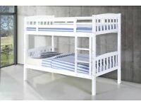 kids furniture-Single Wooden Bunk Bed Frame in White and Oak Color Options